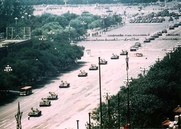 A line of tanks and a man. June 4th 1989
