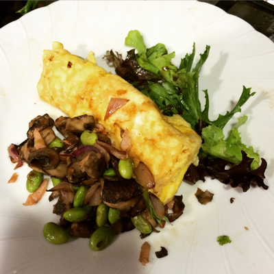 Remember! Look in your Fridge: Mushroom, Edamame, Red Onion, Smoked Salmon Omelet